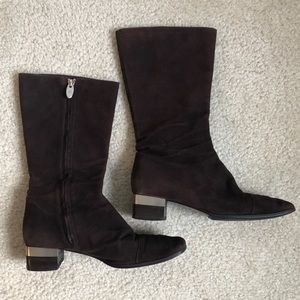 Authentic Chanel CC Suede Mid-Calf Brown Boots